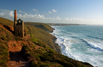 Cornish Beam Engine House on the cliffs overlooking Chapelporth,St Agnes,Cornwall